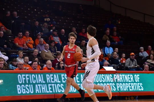 Ball State freshman guard Luke Bumbalough moves the ball up the floor Tuesday against Bowling Green. The Cardinals suffered another Mid-American Conference defeat.