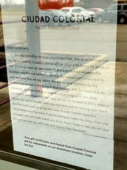 Signs outside Ciudad Colonial stated the restaurant closed for good on Dec. 22, leaving another vacancy at Muncie Mall.