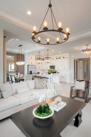 Home buyers can select from six spacious, low-maintenance villa home designs featuring coastal-themed exteriors at Abaco Pointe by Toll Brothers.