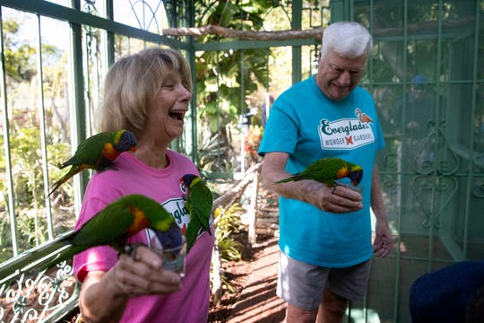 Arlene and Terrry Riegel of North Naples, enjoy the company of lorikeets during the grand opening of the new lorikeet pavilion named in their honor, Tuesday, Jan. 28, 2020, at the Everglades Wonder Gardens in Bonita Springs.