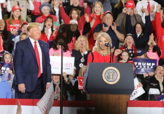 Adviser Kellyanne Conway speaks at President Donald Trump's rally at the Wildwoods Convention Center on Tuesday, Jan. 28, 2020.