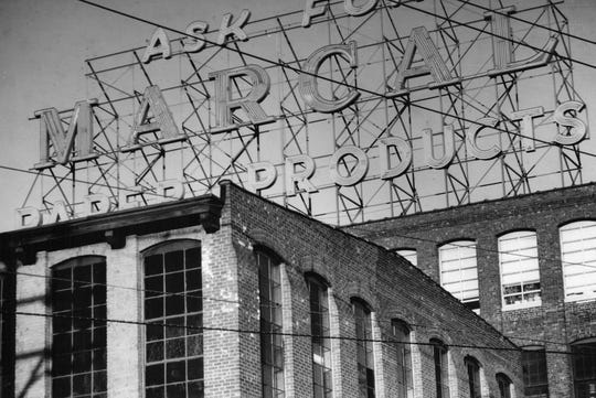 View of the iconinc sign at the Marcal Paper Mills plant in Elmwood Park, NJ. December 23, 1984
