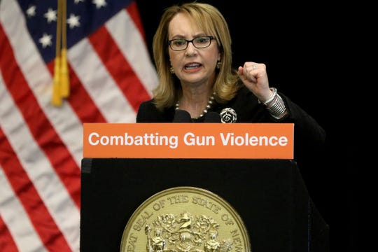 Former Congresswoman Gabby Giffords, encourages people in New Jersey to keep fighting for gun safety, as she speaks in Jersey City.  Giffords, who was shot, while she held office in Arizona, in 2011, was in Jersey City as Governor Murphy and others  announced the nine hospitals that will have a violence intervention program.  The programs are receiving $20 million of federal money. Among those chosen were St. Joseph's Health, in Paterson.   Wednesday, January 29, 2020