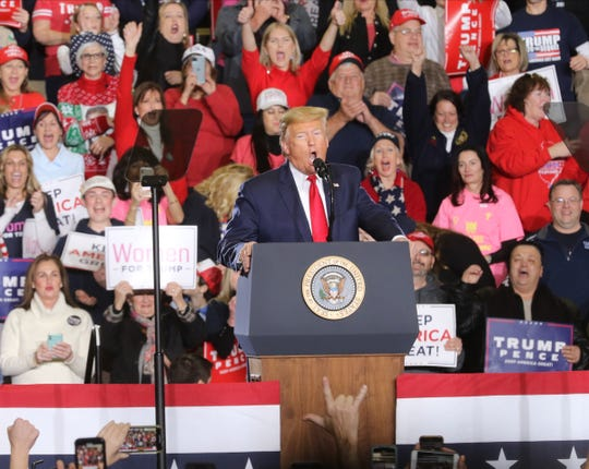 President Donald Trump addresses his supporters at a rally at the Wildwoods Convention Center on Tuesday, Jan. 28, 2020.