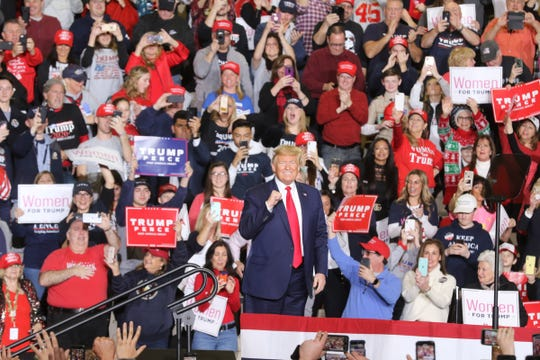 President Donald Trump appears before his supporters at a rally at the Wildwoods Convention Center on Tuesday, Jan. 28, 2020.