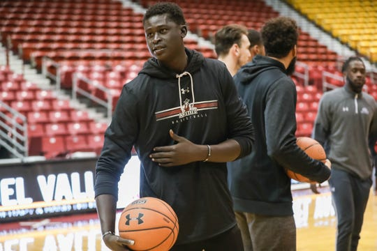 South Florida transfer Mayan Kiir makes his first appearance in New Mexico State attire during a Women's Clinic at the Pan American Center in Las Cruces on Jan. 28, 2020.