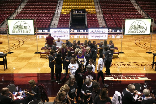 A sell-out group of 150 lady Aggie fans attend New Mexico State's second annual Women's Clinic on Tuesday, Jan. 28.