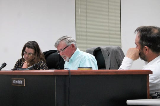 The Otero County Commission held a special meeting Jan. 28 to discuss the next steps on the courthouse mediation.   From left: Otero County Commission Vice-Chairwoman Lori Bies, Otero County Commission Chairman Gerald Matherly and Otero County Commissioner Couy Griffin.