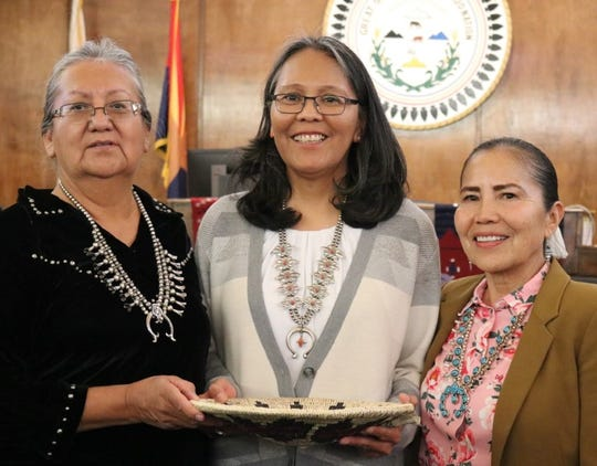 From left, Navajo Nation Supreme Court Associate Justice Eleanor Shirley, Associate Justice Tina Tsinigine and Chief Justice JoAnn Jayne stand for photos after Tsinigine took the oath of office on Jan. 28 in Window Rock, Arizona.