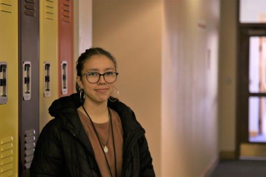 Senior Aztec High School student Savana Lesscher in between classes at Aztec High School on Jan. 28, 2019.