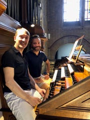 Oliver Latry, organist at Notre Dame in Paris, and Andrew Herbruck examine the organ at Saint-Antoine des Quinze-Vingts in Paris.