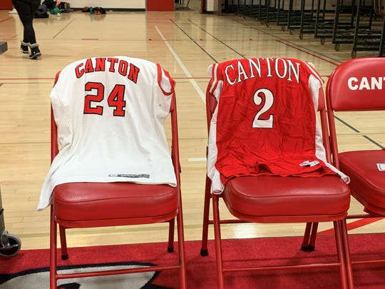 Canton left basketball jerseys with the numbers 24 and 2 out on the bench for Tuesday night's games against Plymouth to honor Lakers legend Kobe Bryant and his daughter Gianna after they were tragically killed in a helicopter accident over the weekend.