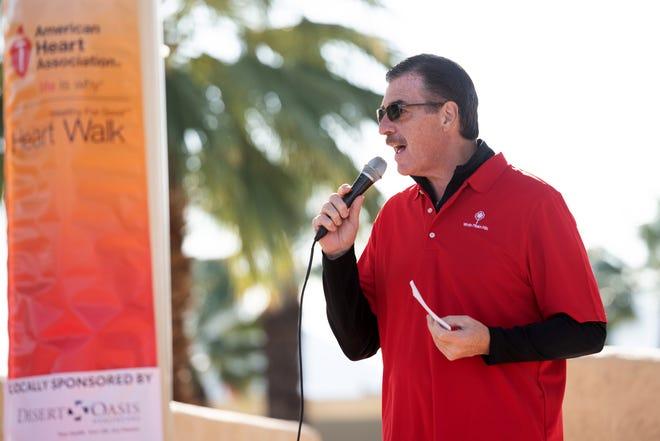 Tom Scaramellino, volunteer chair, speaks at he 2019 Coachella Valley Heart Walk.