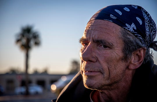 Keith Olsen, 57, speaks to surveyors during the annual Maricopa County Point-in-Time homelessness count in Sunnyslope on Tuesday, Jan. 28, 2020.