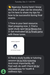 Arizona State University's artificially intelligent chatbot Sunny sends students messages pictured in a screenshot captured by a student.