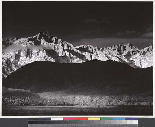 """Winter Sunrise, the Sierra Nevada from Lone Pine, California"" (1944) by Ansel Adams will be on display at the Phoenix Art Museum through June 7."
