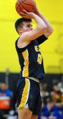 Elco's Braden Bohannon (40) throws in a three pointer during the third quarter of action.