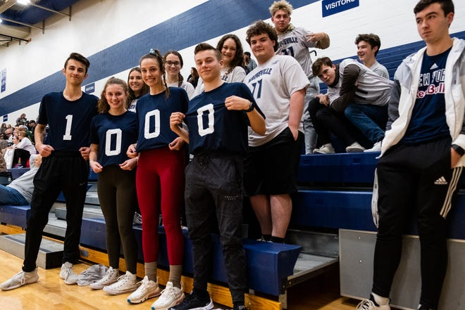 Marysville students wear T-shirts supporting senior Gabby Fogarty during their game against L'anse Creuse Tuesday, Jan. 28, 2020, at Marysville High School. Fogarty became the third girl to score over 1,000 career points in the school's history during the game.