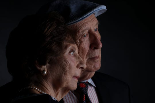 Holocaust survivors Ellen and Jerry Kaidanow, photographed in White Plains, New York on Sept. 4, 2019. Ellen, 83, and Jerry, 86, live in New Rochelle, New York. The photo was included in the Lonka Project, a 2020 United Nations exhibit of portraits of Holocaust survivors.