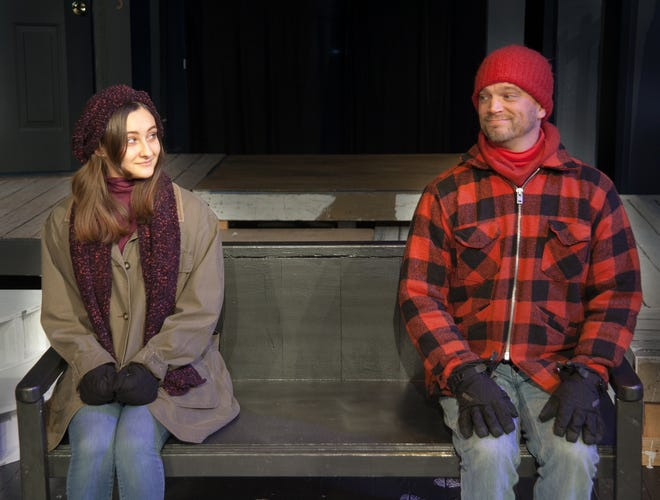"Janelle Missinger and Andrew Smith rehearse a scene in ""Almost, Maine,"" playing Feb. 7-9 at DreamWrights Center for Community Arts."