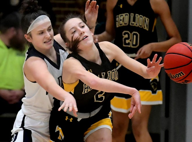 Dallastown's Liv Stein defends Red Lion's Riley Good during basketball action at Dallastown Tuesday, January 28, 2020. Bill Kalina photo