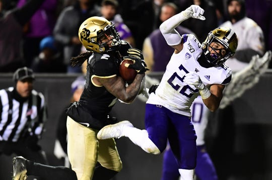 Colorado wide receiver Laviska Shenault Jr. makes a touchdown reception against Washington defensive back Trent McDuffie.