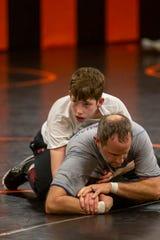 Sophomore Brayden Boyd competes during wrestling practice at Sprague High School on Jan. 28, 2020.
