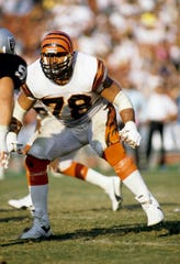 Cincinnati Bengals offensive tackle Anthony Munoz (78) in action against the Los Angeles Raiders during the 1989 season at the Los Angeles Memorial Coliseum.