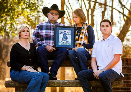 The Snead family, from left, Jennah, Jaylon, Jane and Jayse, pose for a photo Friday, Jan. 24, 2020 at Stephenville City Park as they remember Jevan Snead, a former Texas and Ole Miss quarterback who died by suicide in September.