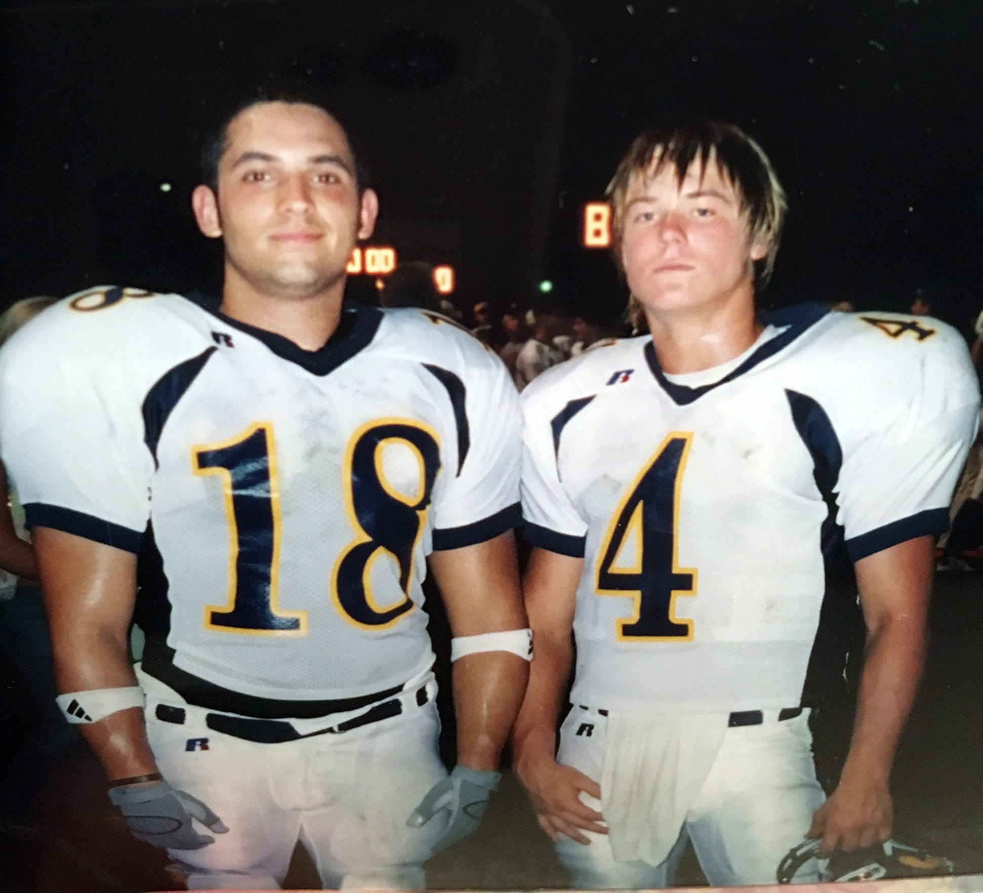Corey Kenyon, right, who is now a coach in Cedar Park, was Jevan Snead's best friend. They are pictured together during their days in Stephenville.