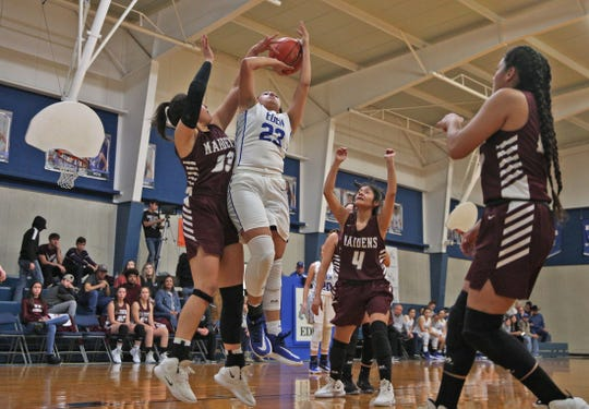 Tara Castleberry, center, drives to the basket for Eden during a game against Paint Rock on Tuesday, Jan. 28, 2020.