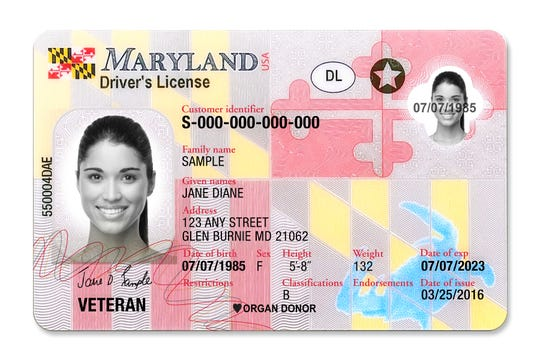 A sample Real ID compliant Maryland driver's license. The federal deadline for Real ID compliance is Oct. 1, 2020.