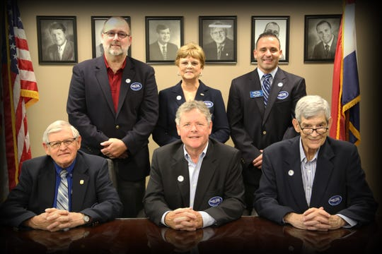 State Fair Community College Board of Trustees, back row, from left: Jim Page, Patty Wood, Nick La Strada. Front row, from left: Jerry Greer, Randall D. Eaton, Ron Wineinger