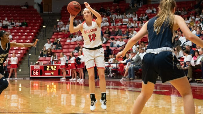 Dixie State senior Madi Loftus fires from 3-point range against Colorado School of Mines.