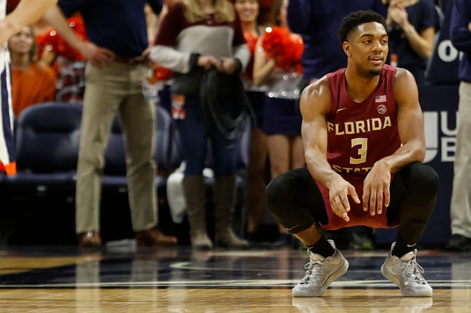 Jan 28, 2020; Charlottesville, Virginia, USA; Florida State Seminoles guard Trent Forrest (3) reacts on the court against the Virginia Cavaliers in the final seconds of the second half at John Paul Jones Arena. Mandatory Credit: Geoff Burke-USA TODAY Sports
