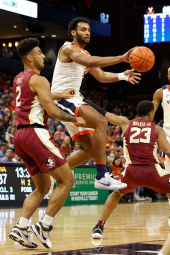 Virginia's senior forward, Braxton Key played fairly well in his team's win over Florida State.  (Photo: Geoff Burke/USA Today Sports, via The Tallahassee Democrat.)