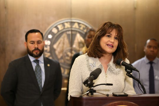 Sen. Annette Taddeo speaks during a press conference demanding the expansion of Medicaid coverage in Florida during press conference on Wednesday, Jan. 29, 2020.