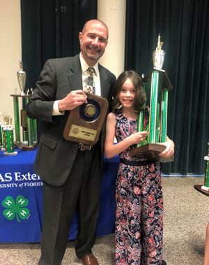 "Emmie Kutter won first place in the Elementary School 4th/5th Grade Contest with the speech, ""Agent Sunday."""