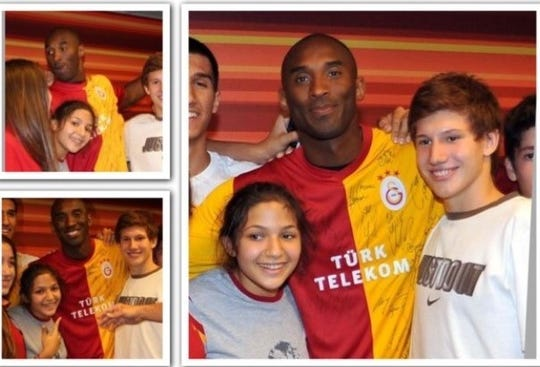 """Ecenur """"E"""" Yurdakul poses with Kobe Bryant during his visit to Turkey on Sept. 25, 2011. Yurdakul was inspired by Bryant's words of encouragement. She eventually came to the United States and played college basketball at Florida A&M University."""