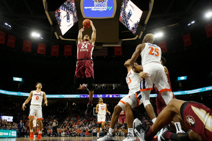 Florida State's sophomore swingman, Devin Vassell showed off versatile scoring skills in his team's loss to Virginia.   (Photo: Geoff Burke/USA Today Sports, via Tallahassee Democrat.)