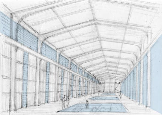 "The inside of the old Vero Beach power plant at 17th Street and Indian River Boulevard could be turned into a conference center with this ""great hall."" Historic power equipment would be preserved below transparent openings in the floor and on the east wall (right), according to a drawing produced by DPZ, city consultants, Jan. 28, 2020."