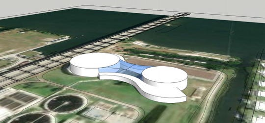 Holding tanks on Vero Beach sewer plant property south of the Alma Lee Loy Bridge could be turned into City Hall or another kind of complex, according to drawings from DPZ Group, the city's consultants.
