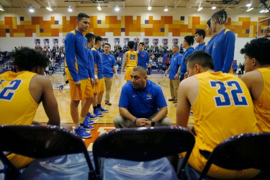 Eastwood takes the court for the game against Eastlake Tuesday, Jan. 28, in District 2-5A at Eastlake High School in El Paso.
