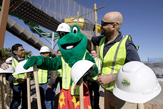 Freddy the Frog, Wet 'N Wild Waterworld's mascot, dons a hard hat for the groundbreaking ceremony Jan. 29 for construction of the largest, and most expensive water ride in the park's 40-year history.