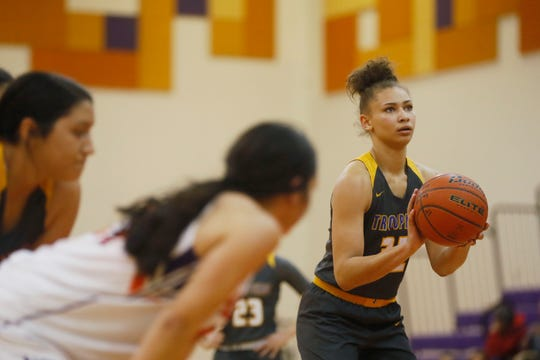 Eastwood's Kayleigh Walton shoots a free throw during the game against Eastlake Tuesday, Jan. 28, in District 2-5A at Eastlake High School in El Paso.