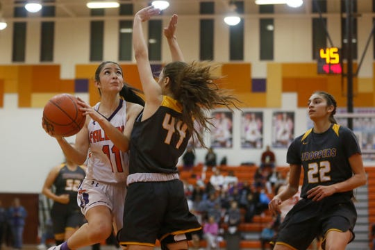 Eastlake's Cheyanne Bonilla takes a shot against Eastwood  during the game Tuesday, Jan. 28, in District 2-5A at Eastlake High School in El Paso.