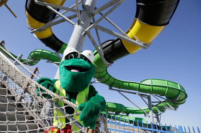 Freddy the Frog, Wet 'N' Wild Waterworld's mascot wears a pair of hard hats on the stairs leading to Jaguar Falls, now the park's largest water ride. It will be surpassed by a new, larger ride being built at the park in Anthony, Texas, on the edge of West El Paso.