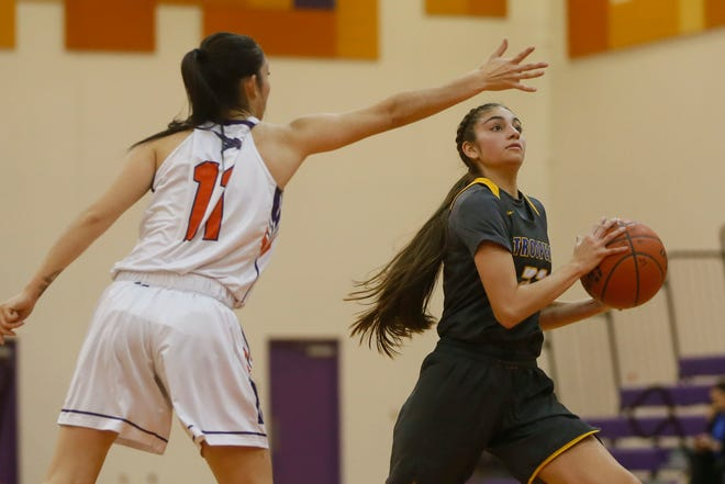 Eastwood's Alyssa Hutterer during the game against Eastlake Tuesday, Jan. 28, in District 2-5A at Eastlake High School in El Paso.
