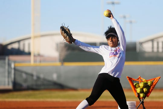 Eastlake softball player Autumn Scott during practice Tuesday, Jan. 28, at the Eastlake High School softball field in El Paso. Scott is one of the top players in the city and an UTEP signee.