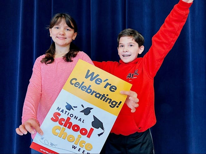 Chloe Weyman of Vineland and Brenddan Lynn of Millville, both sixth graders at Cumberland Christian School, participated in the school's National School Choice Week activities.
